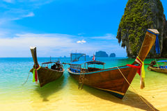 Travel landscape, beach with blue water Stock Images