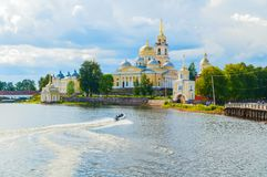 Travel landscape. Nilo-Stolobensky Monastery in Tver region and the Seliger lake, Tver, Russia - summer travel scene. Travel landscape. Nilo-Stolobensky royalty free stock image
