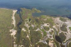 Aerial view of the Texas Gulf Coast, Galveston Island, United States of America. Travel landscape panorama of West Galveston Bay, a large nature preserve area stock images