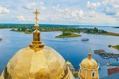 Travel landscape of Tver region and the Seliger lake, Russia. Nilo-Stolobensky Monastery, birds eye view. Travel landscape. Tver region and the Seliger lake royalty free stock photo
