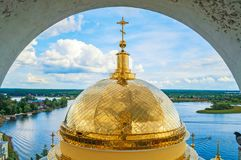 Travel landscape of Tver region and the Seliger lake, Russia. Nilo-Stolobensky Monastery, summer view. From from height royalty free stock image