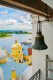 Travel landscape of Tver region and the Seliger lake, Russia. Nilo-Stolobensky Monastery. View from from height royalty free stock photo