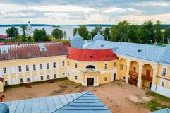 Travel landscape of Tver region and the Seliger lake, Russia. Nilo-Stolobensky Monastery, aerial view. Travel landscape. Tver region and the Seliger lake, Russia royalty free stock image