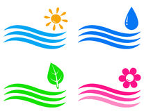 Travel and landscaping icons with wave. Set of colorful travel and landscaping icons with wave, water drop,leaf, flower Stock Image