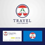 Travel Lebanon Creative Circle flag Logo and Business card design. This Vector EPS 10 illustration is best for print media, web design, application design vector illustration