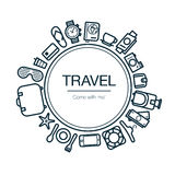 Travel and Leisure Card. Background With Icons. Stock Photography