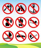 Travel and leisure prohibition signs. Royalty Free Stock Photos