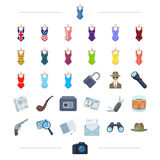 Travel, leisure, sport and other web icon in black style.  Royalty Free Stock Images
