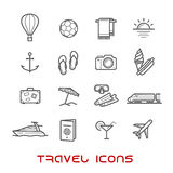 Travel and leisure thin line icons Royalty Free Stock Images