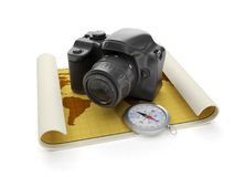 Travel and leisure tourism. 3d illustration: Travel and leisure tourism. The camera and a map with a compass Royalty Free Stock Photo