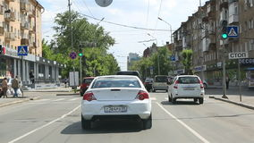 Travel on Lenin Street in the center of Omsk. Royalty Free Stock Photography
