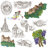 Travel - Liechtenstein. Full sized hand drawings on white. Stock Image