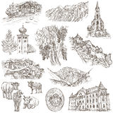 Travel - Liechtenstein. Full sized hand drawings on white. Stock Images
