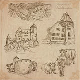 Travel, LIECHTENSTEIN - An hand drawn vector pack Royalty Free Stock Photos