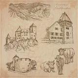 Travel, LIECHTENSTEIN - An hand drawn vector pack Royalty Free Stock Photos