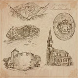 Travel, LIECHTENSTEIN - An hand drawn vector pack Stock Photos