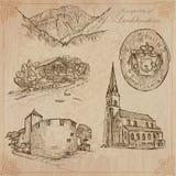 Travel, LIECHTENSTEIN - An hand drawn vector pack Stock Photos
