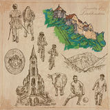 Travel, LIECHTENSTEIN - An hand drawn vector pack Royalty Free Stock Photo