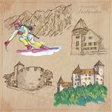 Travel, LIECHTENSTEIN - An hand drawn vector pack Stock Photography