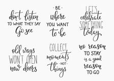 Travel life inspiration quotes lettering Royalty Free Stock Photography