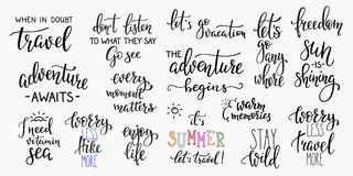 Travel life inspiration quotes lettering royalty free illustration