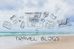 Travel & lifestyle blogger desk with laptop, travel blogs Royalty Free Stock Image