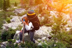 Travel Lifestyle and survival concept rear view royalty free stock image