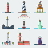 Travel lighthouse water sailing signal navigation symbol. Royalty Free Stock Images