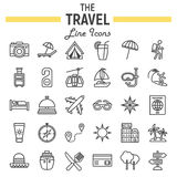 Travel line icon set, tourism symbols collection Royalty Free Stock Images