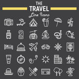 Travel line icon set, tourism symbols collection Stock Image