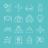 Travel line icon set Stock Photo