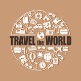 Travel line icons in globe shape. Travel the world - vector illustration concept for cover card, brochure or magazine royalty free illustration