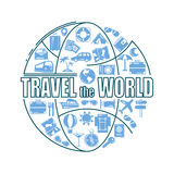 Travel line icons in globe shape. Travel the world - vector illustration concept for cover card, brochure or magazine vector illustration
