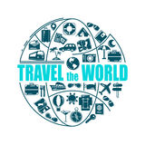 Travel line icons in globe shape. Travel the world - vector illustration concept for cover card, brochure or magazine Royalty Free Stock Images