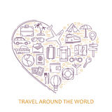 Travel line icons in heart shape. I love travel - vector illustration concept for cover card, brochure or magazine Royalty Free Stock Photos