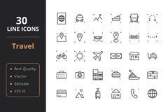 30 Travel Line Icons. High quality travel line icons. Icons for user interfaces and web Stock Image
