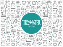 Travel Line Icons Pattern Royalty Free Stock Image