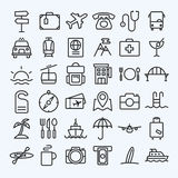 Travel Line Icons Set Royalty Free Stock Photo