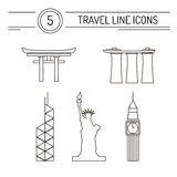 Travel Line Icons. Set of line travel icons. Modern symbols of famous sightseeings including Big Ben, Statue of Liberty, Marina Bay Sands, Japan Arch and Bank of vector illustration