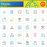 Travel line icons set, outline vector symbol collection, linear pictogram  Stock Images