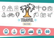 Travel Line Icons Set Royalty Free Stock Photos