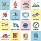 Travel line icons set Stock Photos