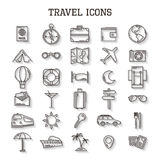 Travel line icons with shadow vector set isolated on white background. Modern illustration for web and mobile. Vacation Stock Images