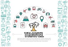 Travel Line Icons Template royalty free illustration