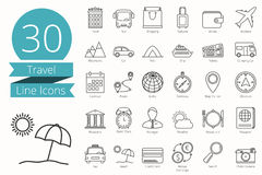 Travel Line Icons. 30 Travel thin line icons Royalty Free Stock Photography