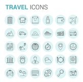 Travel Line Icons. 30 Travel thin line icons in circles Stock Photography