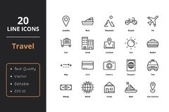20 Travel Line Icons. Travel line icons. Icons for user interface and web royalty free illustration