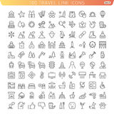 Travel Line Icons for Web and Mobile. Travel Icon set 2. Beach Mountains and Hotel. Light version Stock Photo