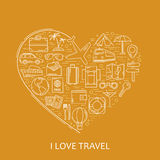 Travel line white icons in heart shape. I love travel - vector illustration concept for cover card, brochure or magazine, invitati Royalty Free Stock Image