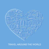 Travel line white icons in heart shape. I love travel - vector illustration concept for cover card, brochure or magazine, invitati Royalty Free Stock Images
